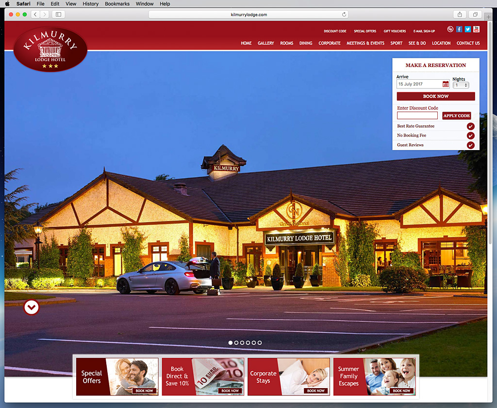 Screen shot of the Home Page on Kilmurry Lodge Hotel's website.