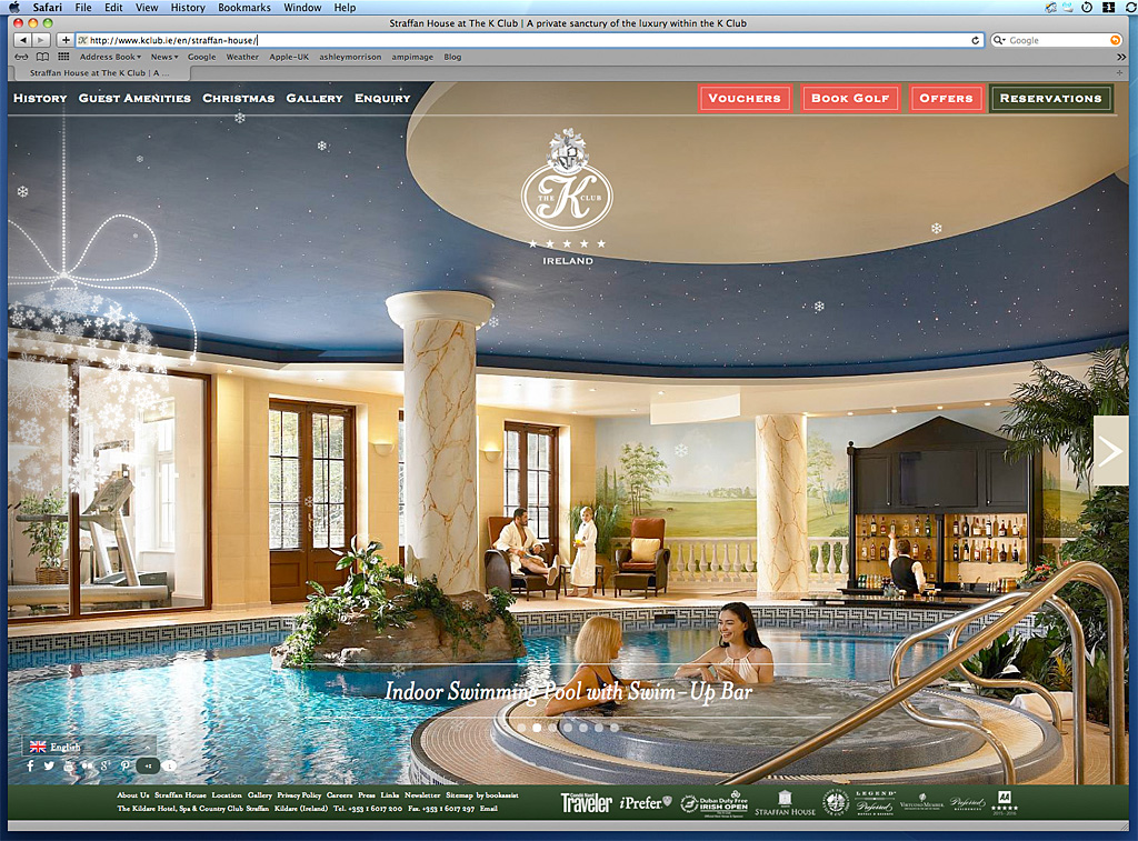 Screen grab of the home page showing the Swimming pool with a swim-up bar in Straffan House on the K Club's website.