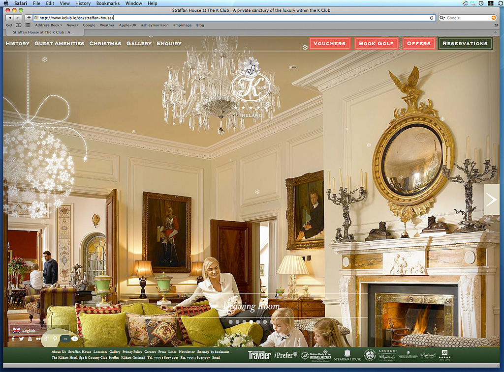 Screen grab of the home page showing the Drawing Room in Straffan House on the K Club's website.