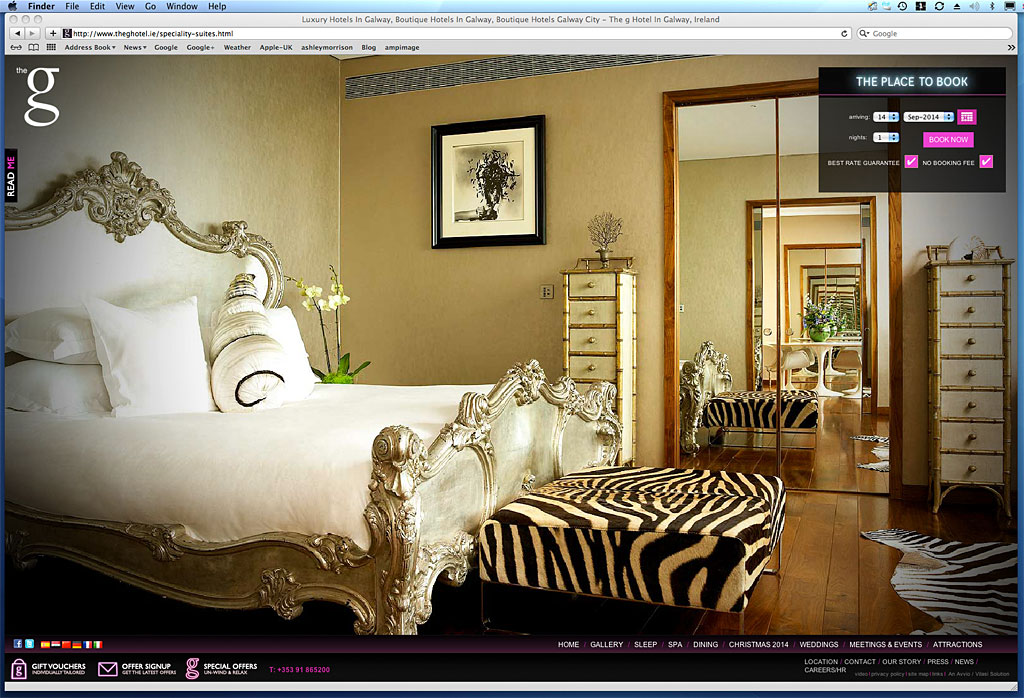 Screen shot showing how our image was used on the Linda Evangelista suite page of the G Hotel's website.