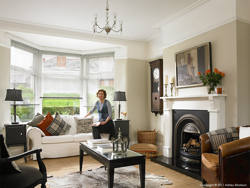 Janet hamilton in the living room of her newly refurbished for Modern kitchen in 1930s house